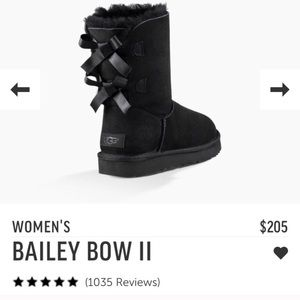 NWT UGGS Black Bailey Bows 2! Women's Size 7